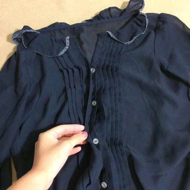 深藍雪紡長袖上衣