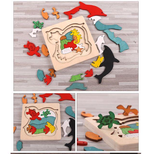 代購 木質3D立體拼圖 益智積木玩具