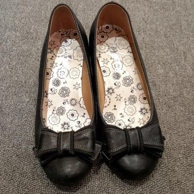 蝴蝶結楔形包鞋 低跟鞋 22.5
