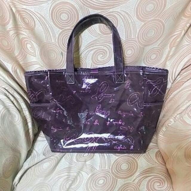 agnes.b.紫色大肩背,保證真品
