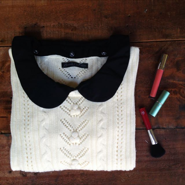 Anne Basket White Cable Jumper