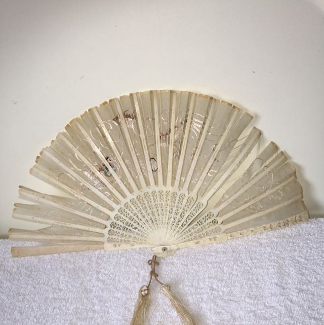 Antique Chinese Ivory  Silk Fan