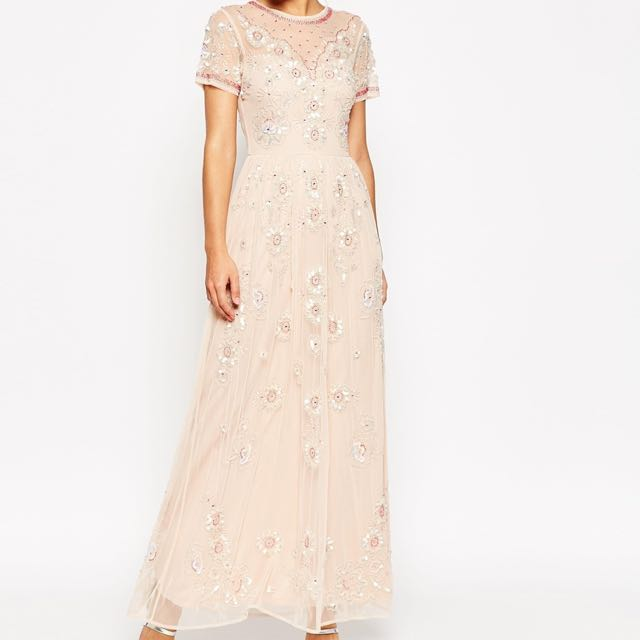 ASOS Beaded Blush Maxi Dress