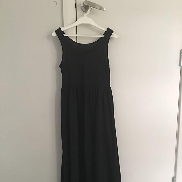 Asymmetrical Black Maxi Dress