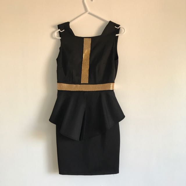 Black And Gold Peplum Dress