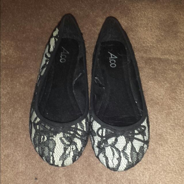 Black Lace Flats Shoes