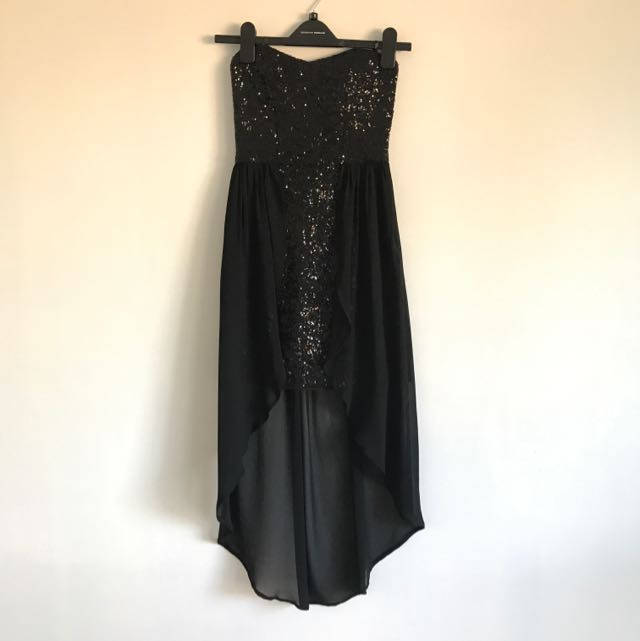 Black Sequin Dipped Dress