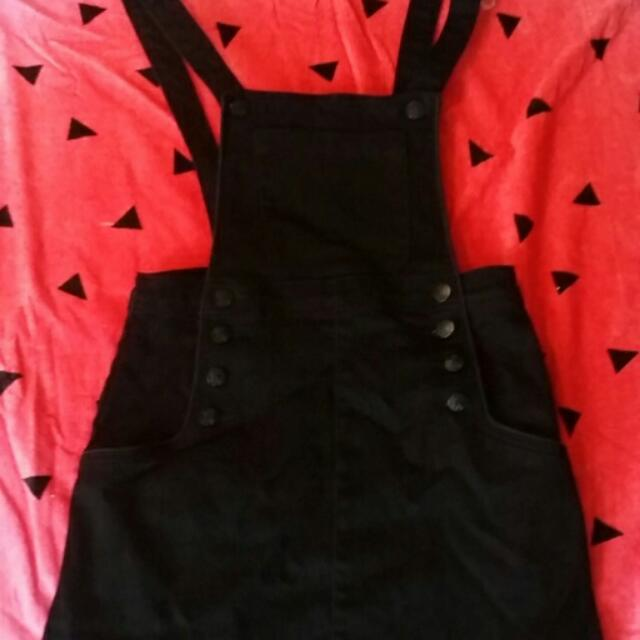 Black Skirt Overalls Size 8