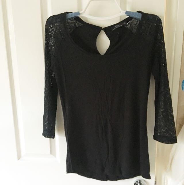 Black Top Lace Sleeve Cotton