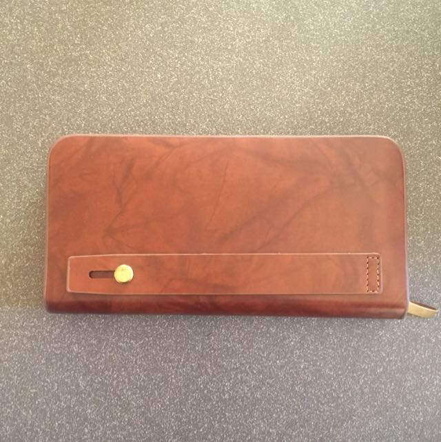 Brown Long Wallet With Gold Hardware