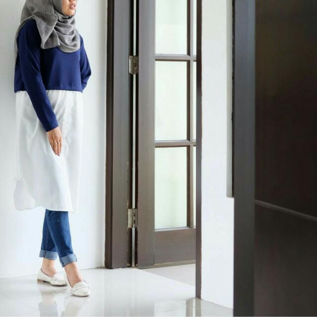 Callanda Hijab Fiska Top Navy
