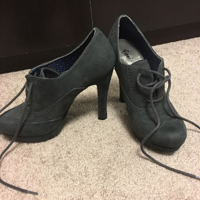 Charcoal Grey Lace-up Heels (7.5, Never Worn)