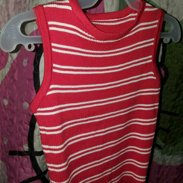 crop top stripe white and red