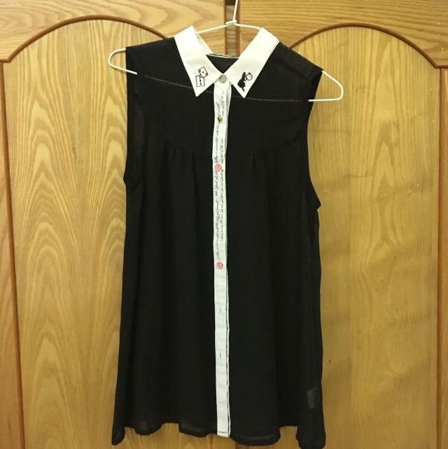 日牌dressy daisy愛麗絲刺繡領無袖襯衫罩衫(九成新/專櫃購入)