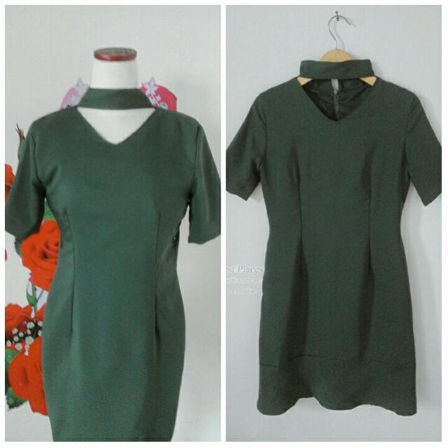 Dress Hijau Army, Pakai Furing, All Size