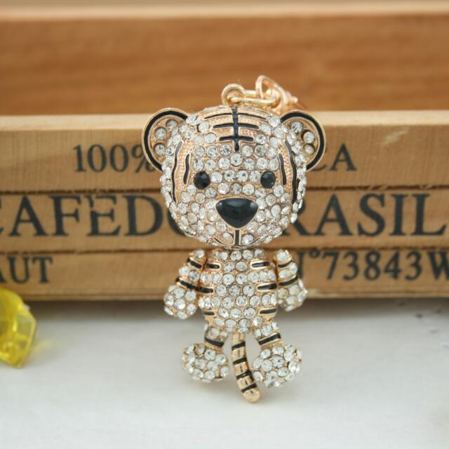 Fashion Cute Tiger Crystal Rhinestone Charm Pendant Key  Chain  (Size: One Size)
