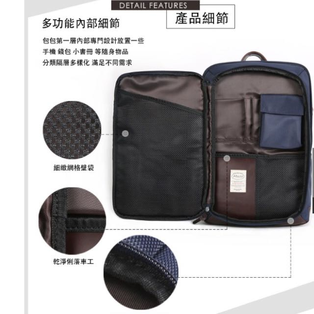 《flightline》香港設計師Urban 上班職場通勤 可放14吋筆電電腦包 防水後背肩背包 9成新 深藍