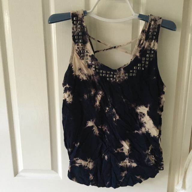 forever 21 top open back faded navy studs