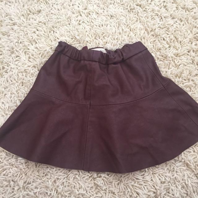 Kids Girls Zara PU Leather Skirt Size 6