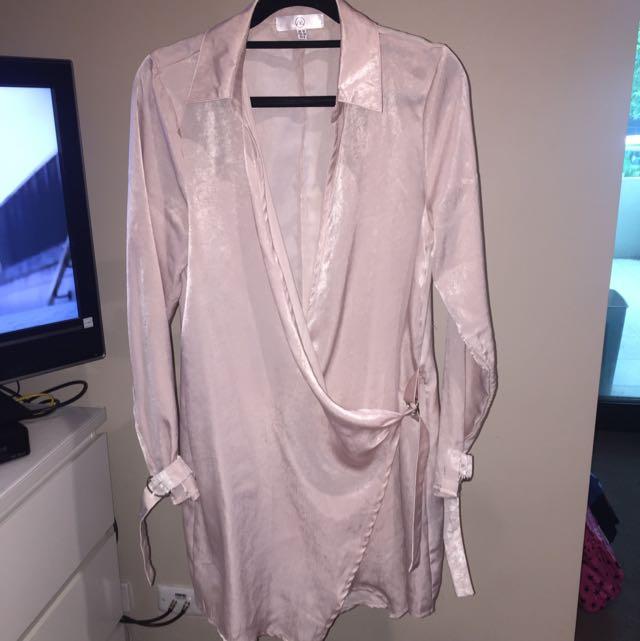 Gorgeous Satin Shirt Dress