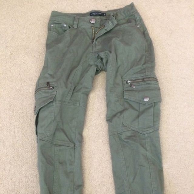 green cargo jeans