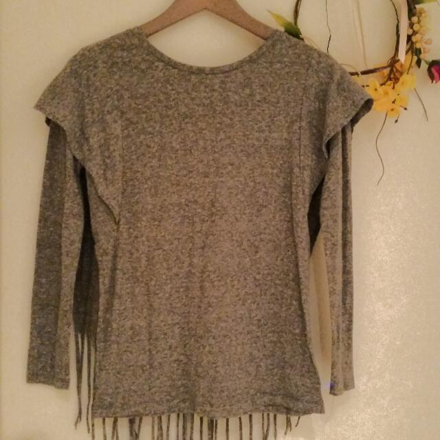 Grey Cotton Fringe Top (S/M)