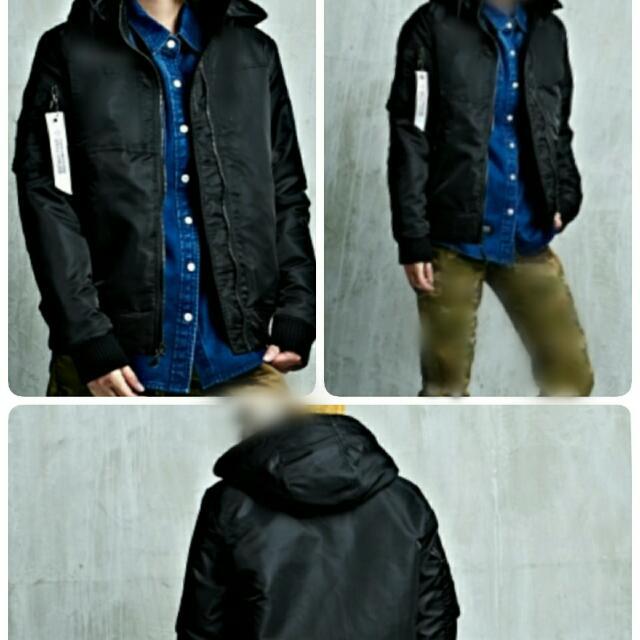 Hang Ten - 女裝 - 絨毛鋪棉保暖連帽外套(毛可拆) - 黑 -飛行外套