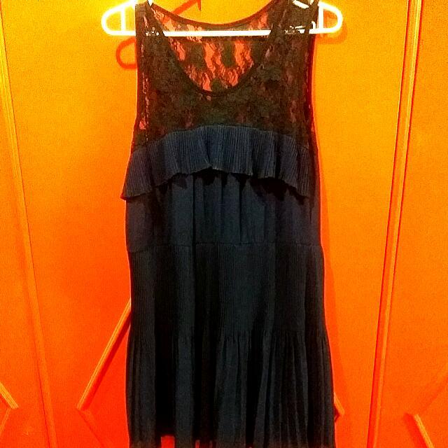 Lace Chiffon Dark Blue Dress