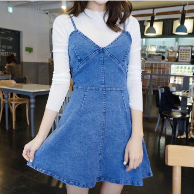 [Made In Korea] Denim One Piece Dress