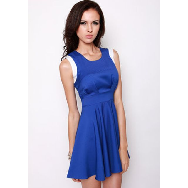 Royal Blue Colour Block Dress