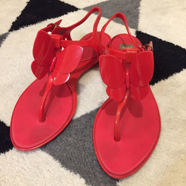 Mel Butterfly Sandals - Red, 37 EUR (6 US)