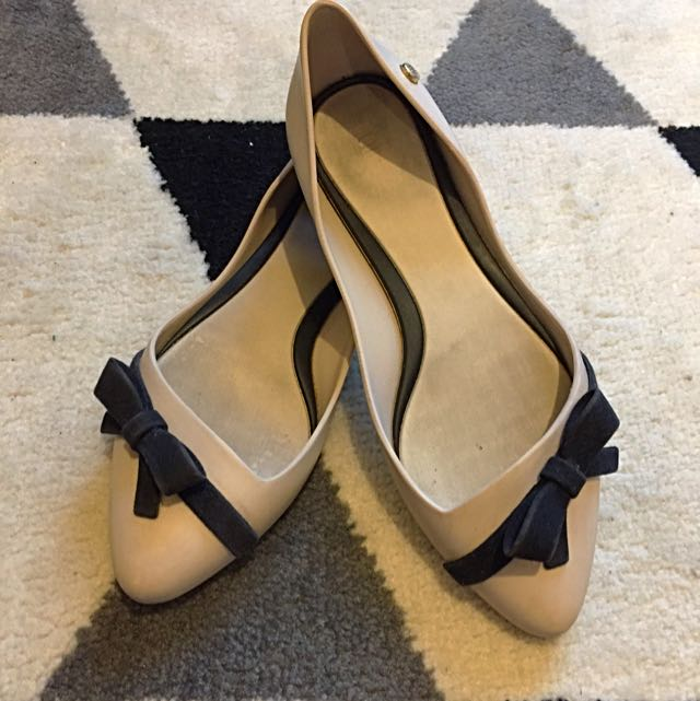 Melissa Flats - Off-white With Black Ribbons, Size 35/36 Eur (5 USA)