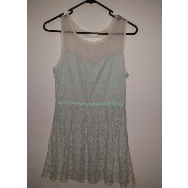 Mint Floral Lace Dress