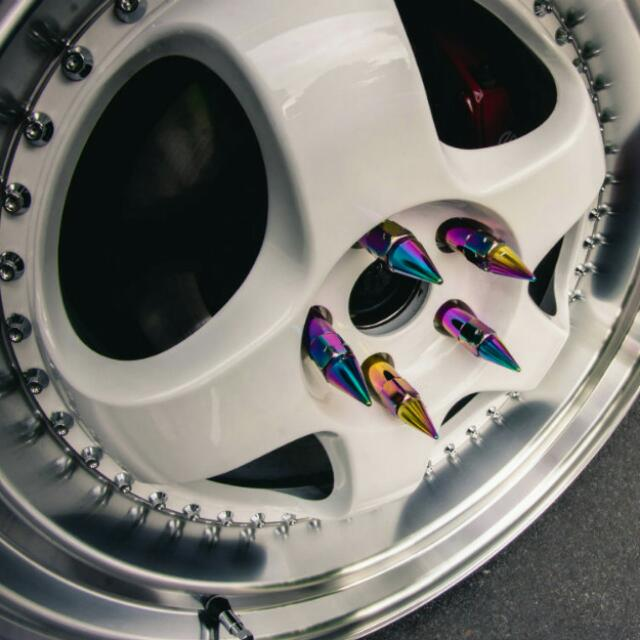 Neo Chrome Aluminium Spike Wheel Nuts, Car Accessories on