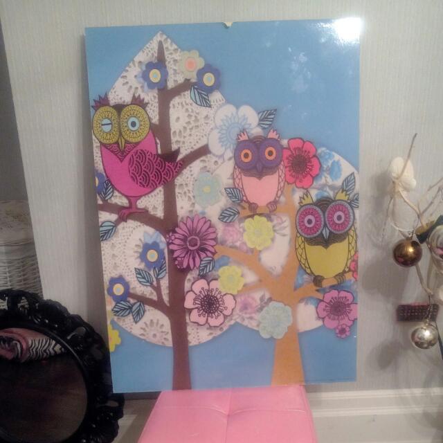 Owl Wall Art Approximately 24 X 36