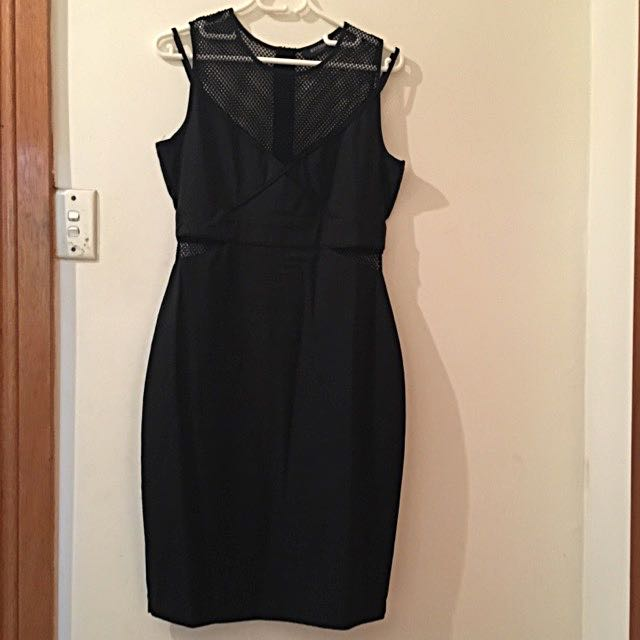 OXFORD little black dress with mesh