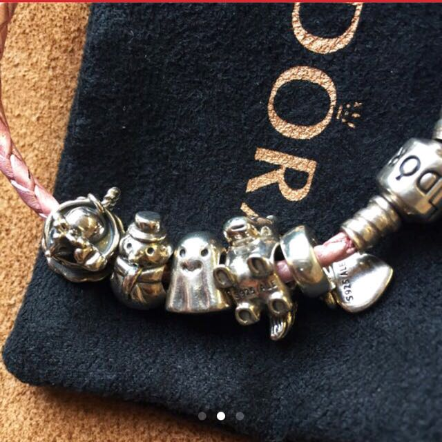 Pandora Pink Leather Bracelet With Charms