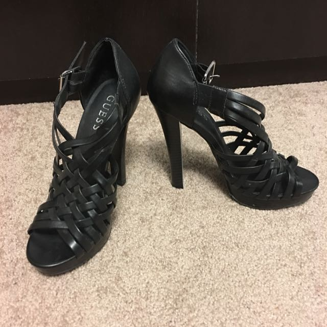 Strappy Black Guess Heels (Size 7)