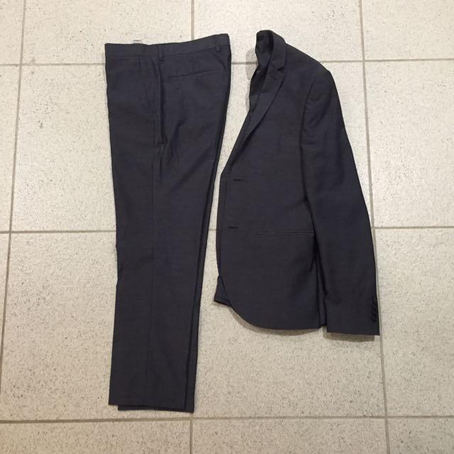 Topman Grey/blue Slim Fit Suit