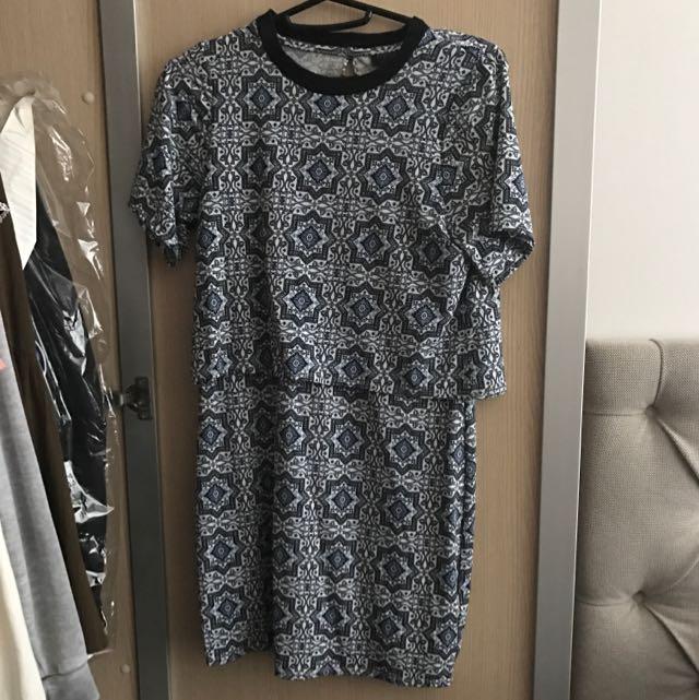 TOPSHOP Tile Print Overlay Dress