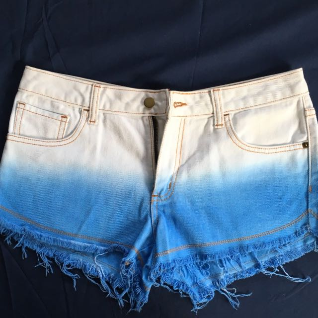 Vanilla Breeze Blue And White Ombré Shorts
