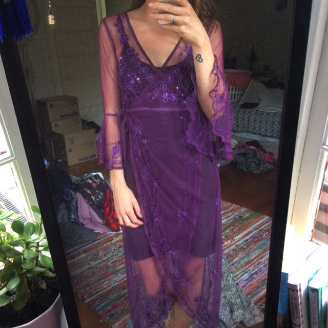 Vintage Bohemian Sheer Purple Wrap Dress