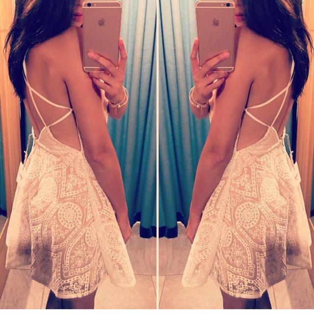 White Lace Romantic Backless Dress