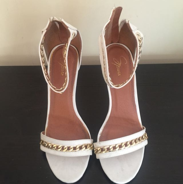 White Strappy Heel With Gold Chain