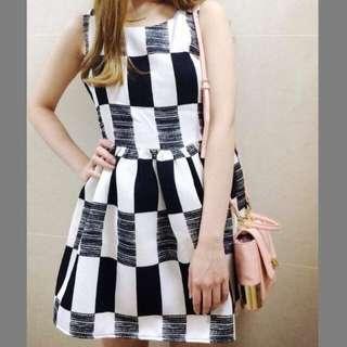 超氣質黑白格紋洋裝