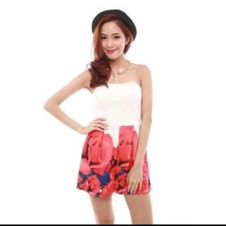 CNY Red Rose White Romper