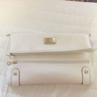 White Clutch/ Strap-able Bag