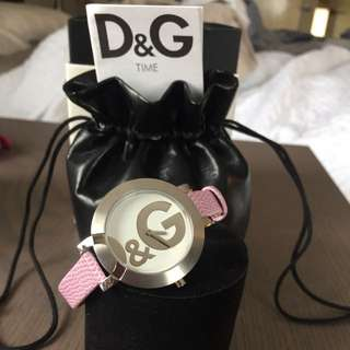 Dolce And Gabbana Pink Leather Strap Watch