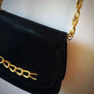 Vintage Little Black Leather Bag