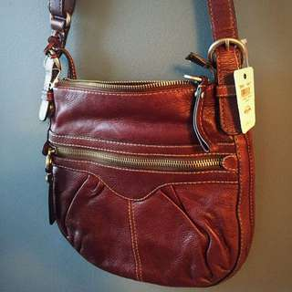 NEW Rich Chocolate Leather FOSSIL Crossbody Bag